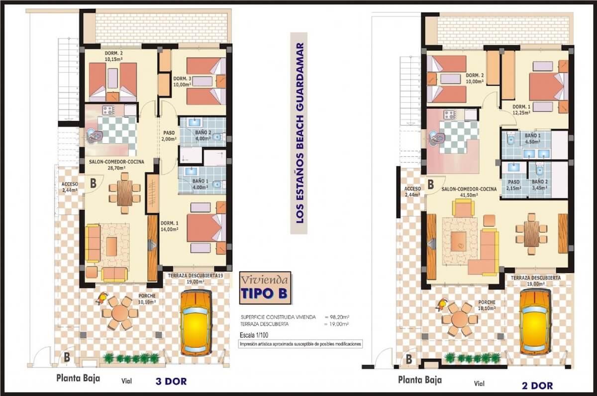 Plano Apartamentos 2 y 3 dormitorios en Guardamar del Segura